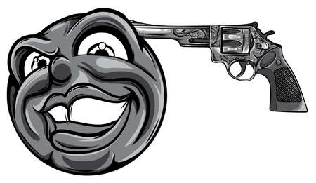 monochromatic Emoticon pointing a gun on his head vector