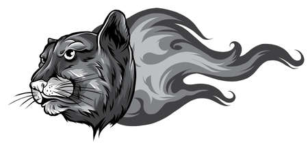 monochromatic Jaguar Flame Tattoo vector illustration design art