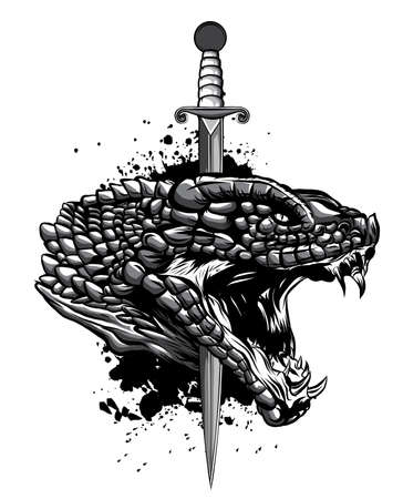 monochromatic Snake and knife. Old school tattoo. Vector Tattoo Art Snake and Knfe