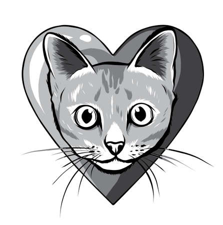 monochromatic Black cartoon cat biting a huge heart.