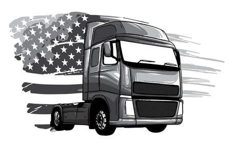 monochromatic Classic American Truck. Vector illustration with american flag Stock Illustratie