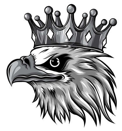 monochromatic The Vector logo queen of eagles. Cute crown print style eagle of background.