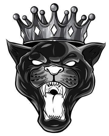 monochromatic Black panther with crown on his head and open mouth, on white background Stock Illustratie
