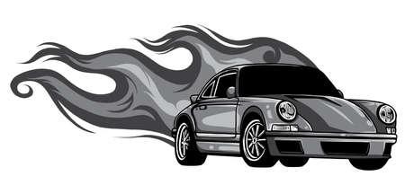 monochromatic Fast car flames vector illustration desgn art Stock Illustratie