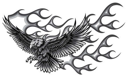 monochromatic Flaming Eagle - vehicle graphic. Ready for vinyl cutting. . Stock Illustratie
