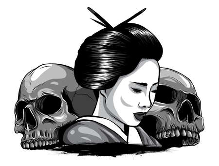 monochromatic Vector illustration of geisha skull with vintage tattoo design style and japan traditional kanji words means strength 版權商用圖片 - 143661023
