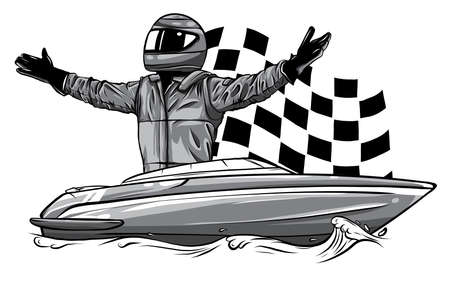 monochromatic Racing boat. Top view. Vector illustration. Applique with realistic shadows.