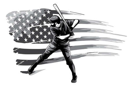 monochromatic Powerful Baseball Hitter Left handed vector illustration Stockfoto - 143661027