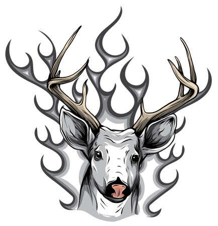 monochromatic Deer with horns fire logo design concept vector illustration