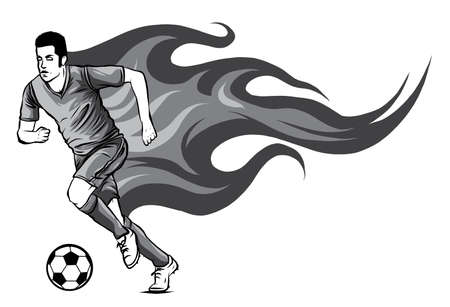 monochromatic Soccer player kicking a ball and has a background as a flame vector Stock Illustratie