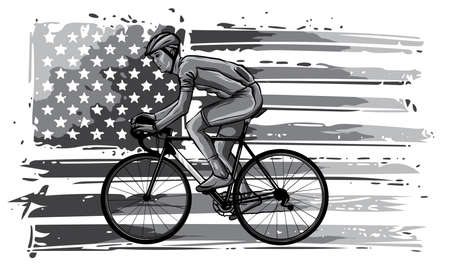 monochromatic Silhouette of a cyclist male in race. illustration. Stock Illustratie