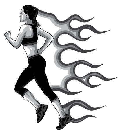 monochromatic Full length side view portrait of young running girl, woman, female athlete, sketch vector illustration isolated on white background. Stock Illustratie