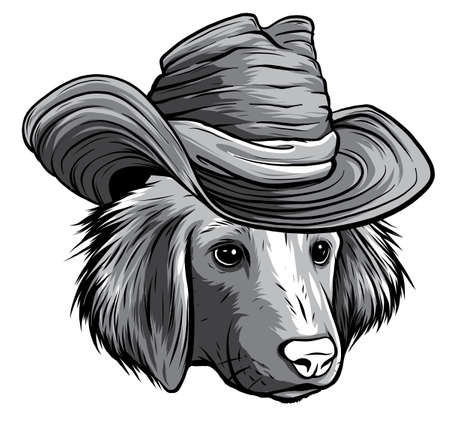 monochromatic vector serious cartoon hipster dog Labrador Retriever in a gray silk hat 版權商用圖片 - 143661043