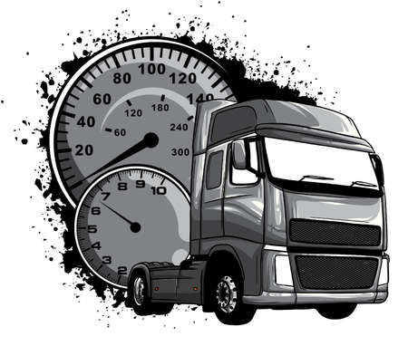 monochromatic Vector cartoon semi truck illustration design art