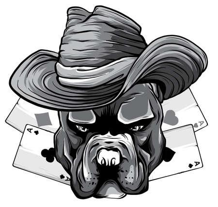monochromatic playing cards and bulldog head vector illustration design