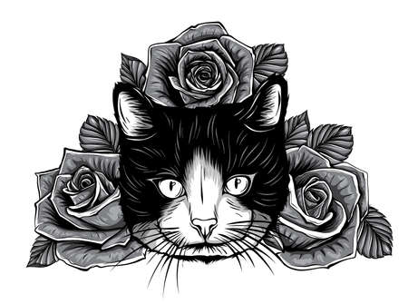 monochromatic cartoon fluffy cat with roses. Siamese cat with open eyes and flowers. Coloring book for adults and children.