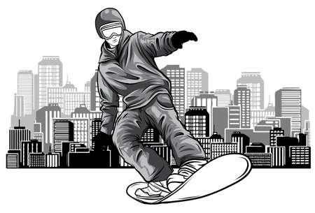 vector colored silhouette snowboarder design art illustration