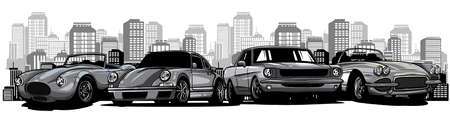 monochromatic Flat vector cartoon style illustration of landscape street with cars
