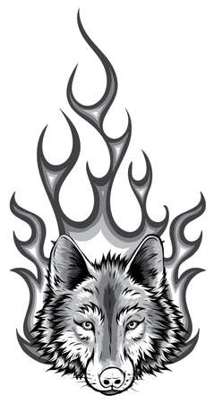 monochromatic Wolf Flaming Fire Logo Vector Mascot Design Stock Illustratie