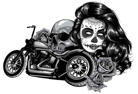 monochromatic illustration Motorcycle woman skull with playing cards poker