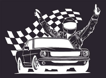 illustration of racing car with checker flag in black background