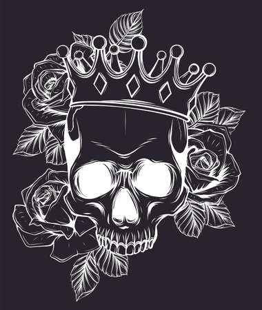 Vector illustration human death skull in crown with roses in black background Stock Illustratie