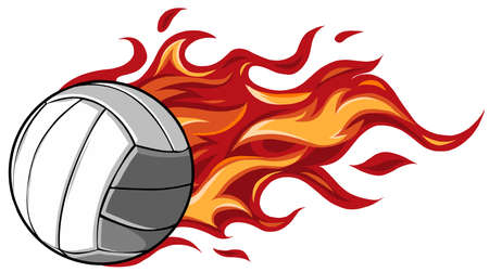 Volleyball Flaming Ball Cartoon vector illustration design Illusztráció