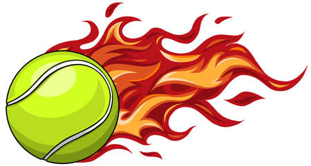 A flaming tennis ball on fire flying through the air
