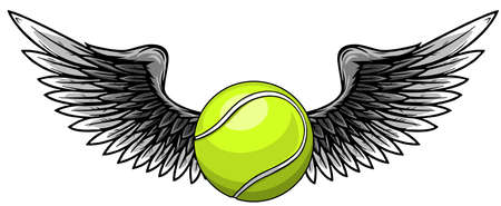 Realistic tennis ball with raised up white wings emblem vector Vettoriali