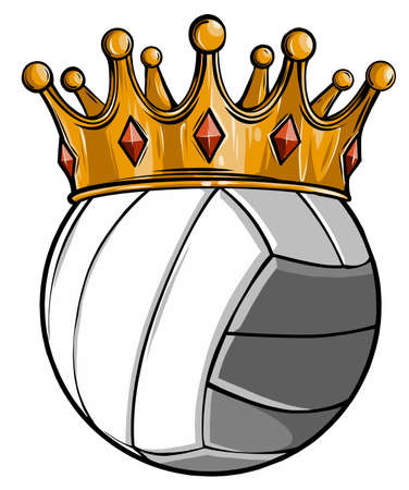 Volleyball ball with royal crown. King of sport. Isolated on white. T