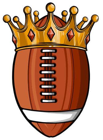 An illustration of an American football ball wearing a golden crown. vector