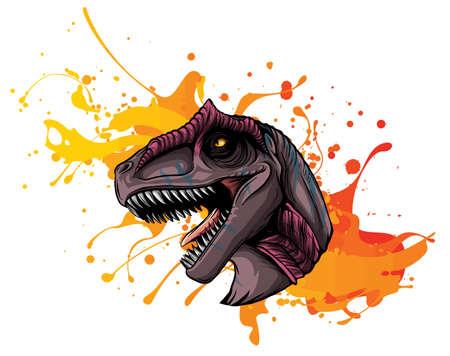 vector illustration of a T Rex, Tyrannosaurus Rex dinosaur ripping through a wall 矢量图像