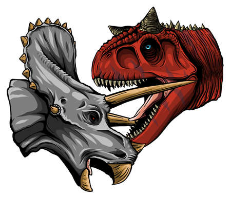 Vector tracing of dinosaur Tyrannosaurus is fighting Triceratops in watercolor style