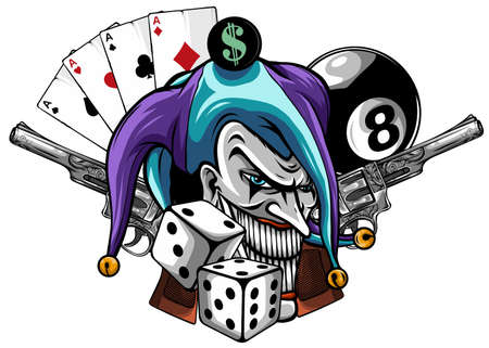 Vector hand drawn illustration of angry clown with guns isolated.