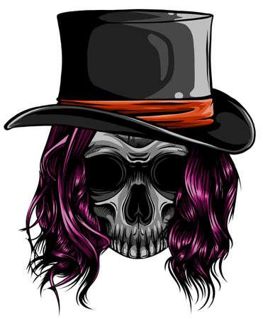 Gangster skull tattoo. Death head with cigar and hat vector Ilustração