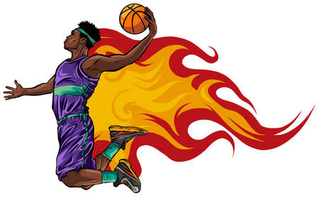 Color illustration. Basketball player throws the ball in the basket Ilustração