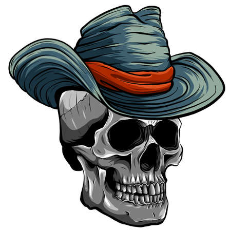 Vector illustration of Cowboy skull with hat Ilustração