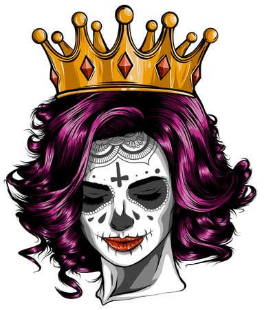 Skull girl with a crown. Vector illustration design Ilustração