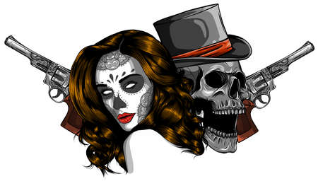 Vector illustration gangster with gun and woman Stockfoto