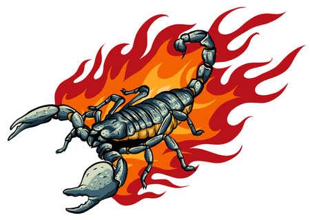 This scorpion with fire vector illustration design Vector Illustratie