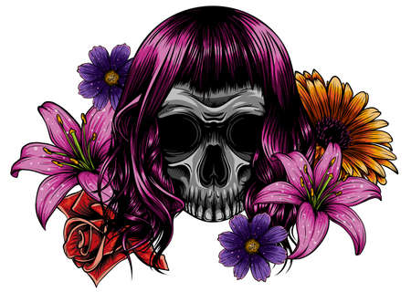 Illustration on white background. Day of the Dead. Vintage.
