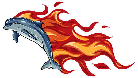 Set of two fiery dolphins. Vector illustrations. Tattoos.