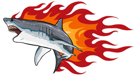 Danger shark with flames for tattoo or mascot design, such a logo template.
