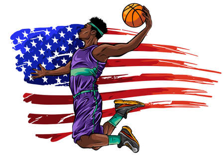 Creative illustration of a Basketball Player on American Flag colors background