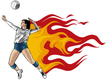 Silhouette of volleyball player with flames. Vector. Ilustração