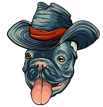 a dog in a cowboy hat. vector illustration Ilustração