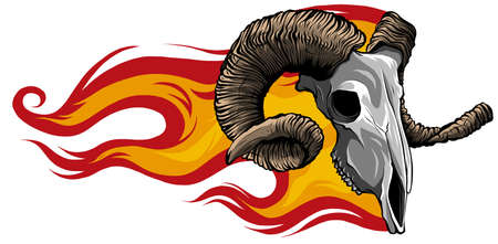 Skull Ram Side Flaming Set vector illustration Illusztráció