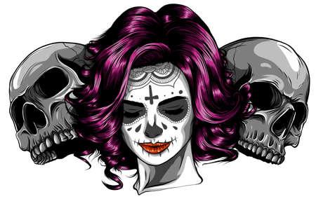Dead girl with two sugar skulls. vector