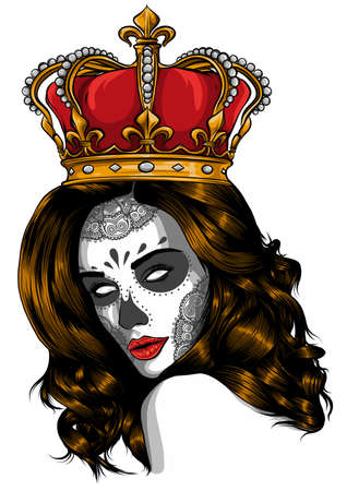 Skull girl with a crown. Vector illustration design Banco de Imagens