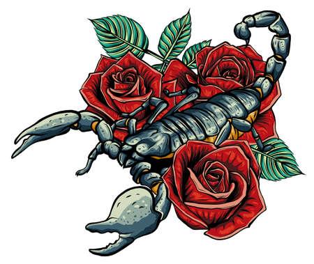 Detailed realistic scorpio in a decorative frame of roses. Ilustração